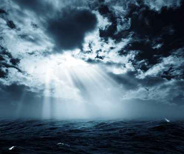 New hope in the stormy ocean, abstract environmental backgrounds
