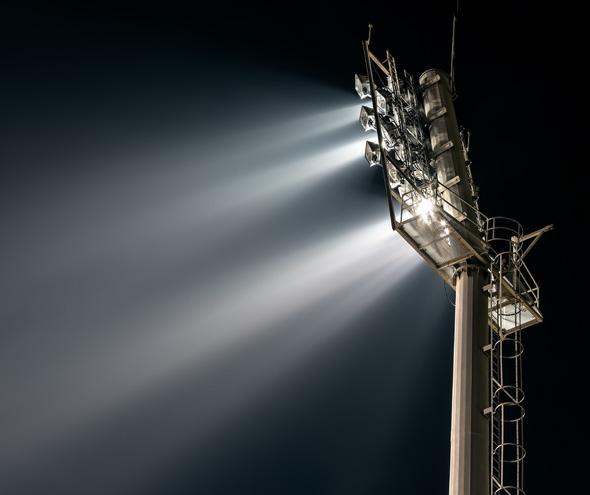 Stadium lights from behind